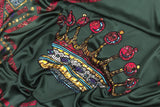 Crowns Green Silk Satin Scarf