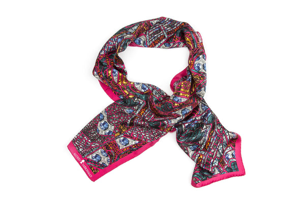 Death's Head Pink Long Silk Scarf