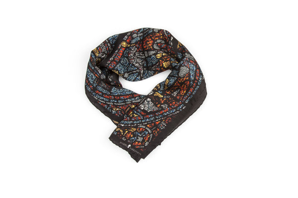 Mith Black Silk Satin Scarf