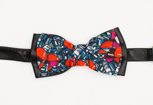 Cherry Blue Leather Bow Tie