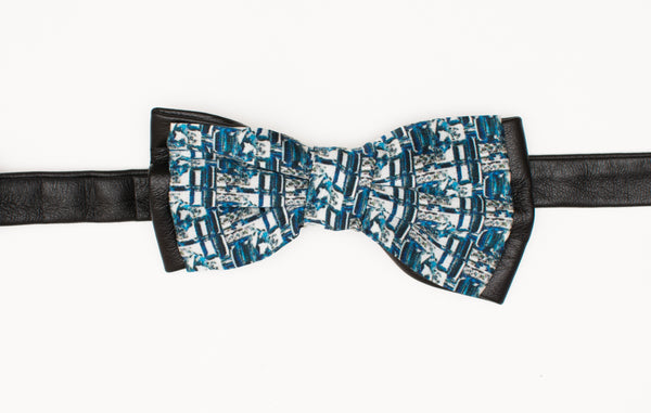 Blue Window Leather Bow Tie