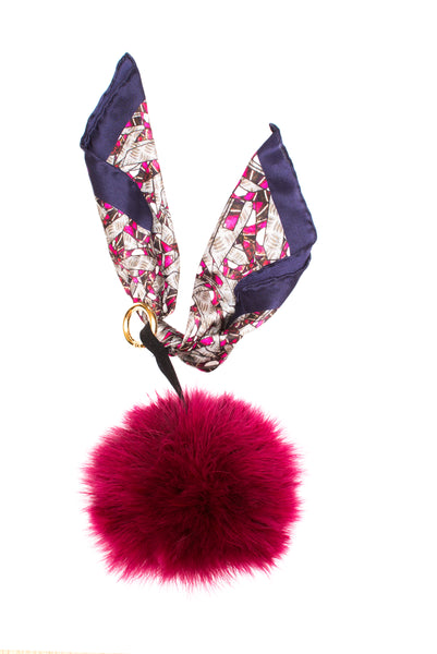 Pink Pocket Fox Fur Key Ring