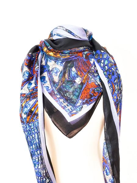 Blue Fish in the Dark Modal Scarf