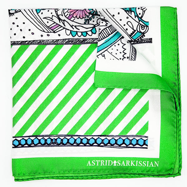 Manufacture Royale De Sèvres Green Strips Pocket Square