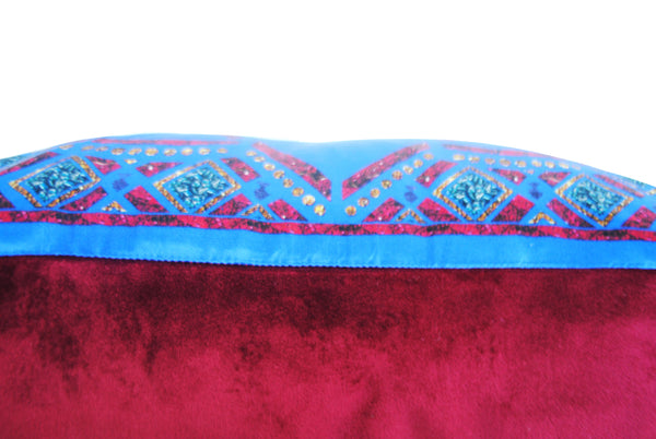 Crown Blue Silk Cushion