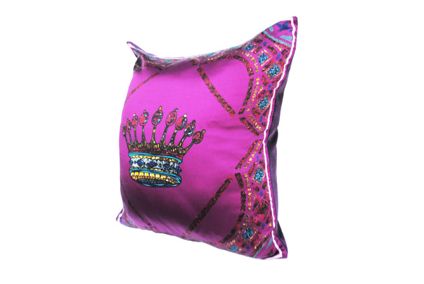 Crown Pink Silk Cushion