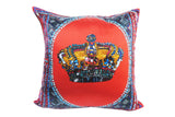 Crown Red Silk Cushion