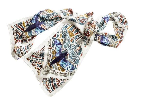 Mith White Long Silk Scarf