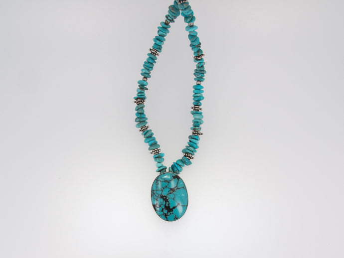 Turquoise Pendant with Nuggets Necklace