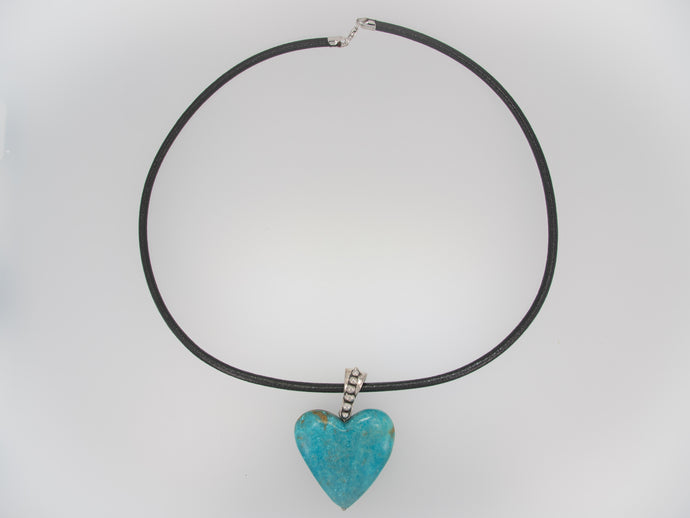 Turquoise Heart with Ball Bail