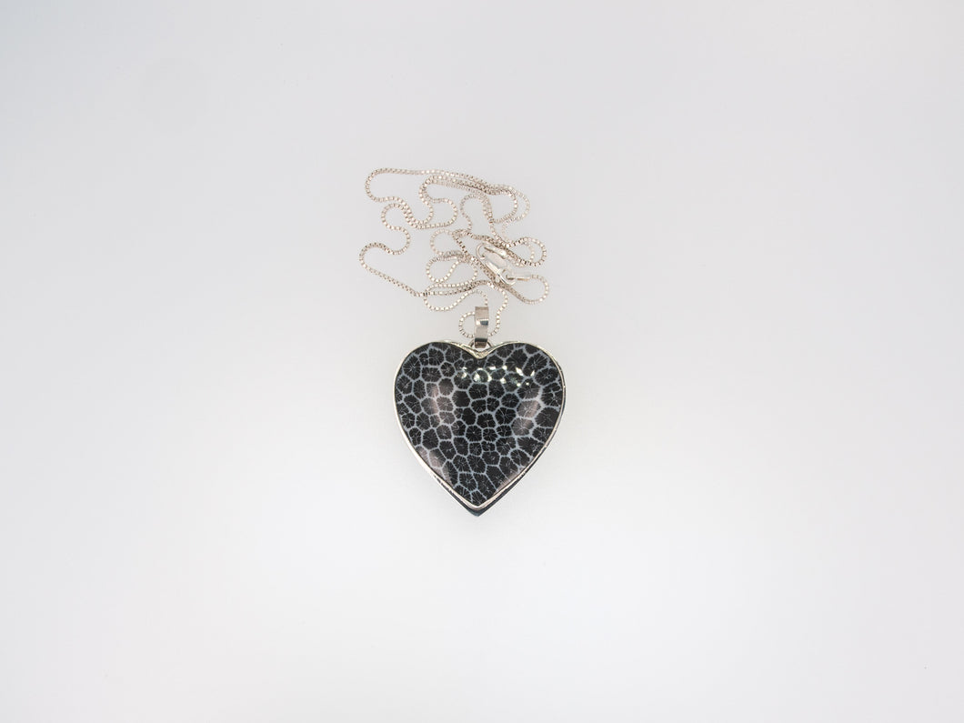 Black Sponge Coral Heart Necklace