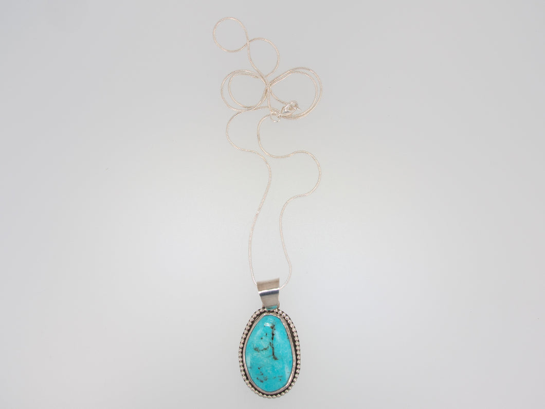 Turquoise Free Form Necklace with Bead Accent