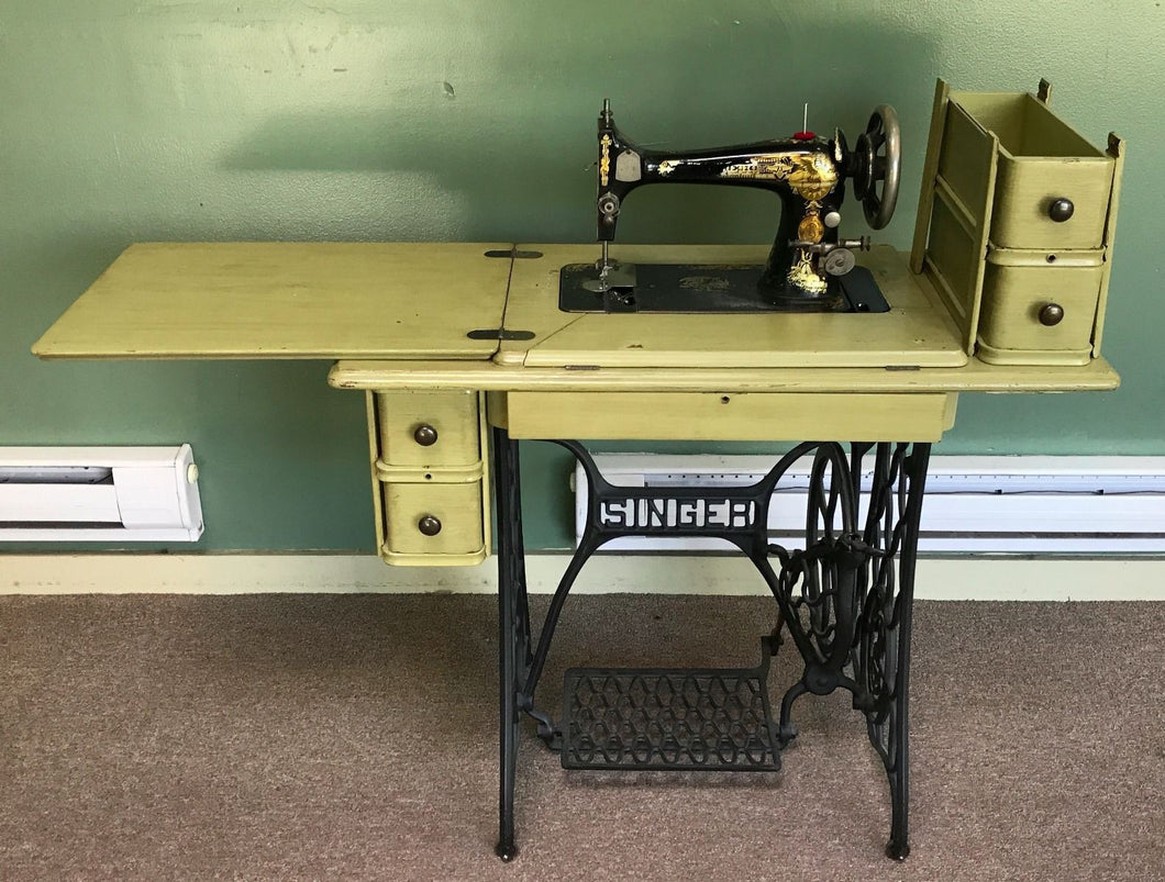 Vintage 1950's Singer Sewing Machine Wood Cabinet Wrought Iron Pedal Belt Driven