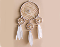 Kit to Make 4 Ring Beige & Brown Dream Catcher - Adults Crafts