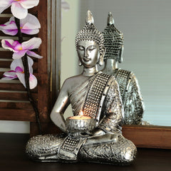 "Buddha statue candleholder silver decoration living room 10,2""/26 cm"