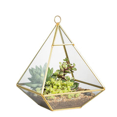Wall Hanging Copper Pyramid Vertical Metal Glass Geometric Terrarium Tabletop Succulent Planter Fern Moss Display Boxes Air Plant Vase Pot 14.98 cm x 14.98 cm x 20 cm