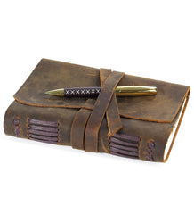LEATHER JOURNAL A5 Writing Notebook - Antique Handmade Leather