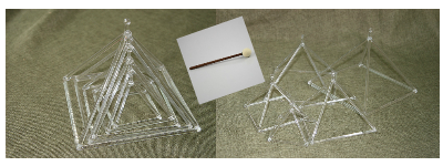5 pcs of Clear Quartz Crystal Singing Pyramids 3 4 5 6 7 inches