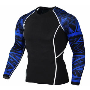 BLUE AZTEC LONG SLEEVE RASH GUARD