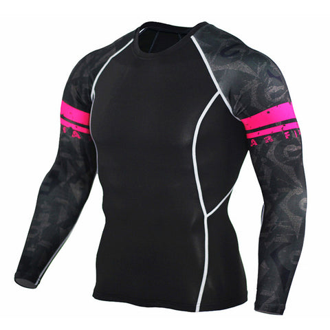 RED STRIPE LONG SLEEVE RASH GUARD