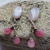 Rose quartz earrings with wirewrapped jade dangles