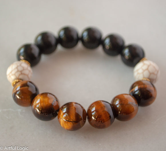 Tiger eye, magnesite & black glass bracelet