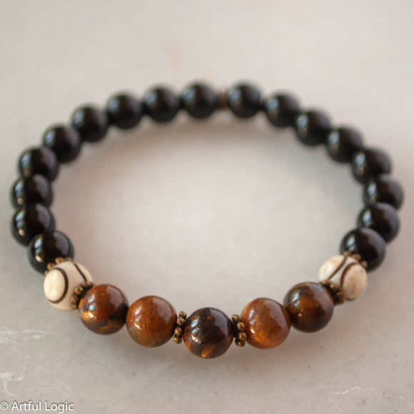 Tiger eye, bone & black glass bracelet