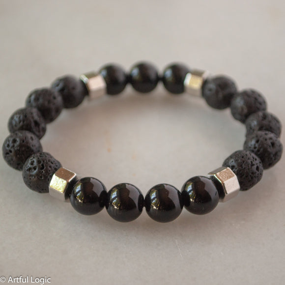 Black lava & glass with silver hardware bracelet