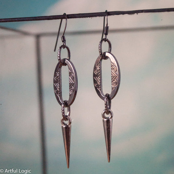 Fancy oxidized silver links with spike earrings