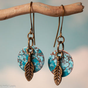 Turquoise patina circles with feather drop earrings