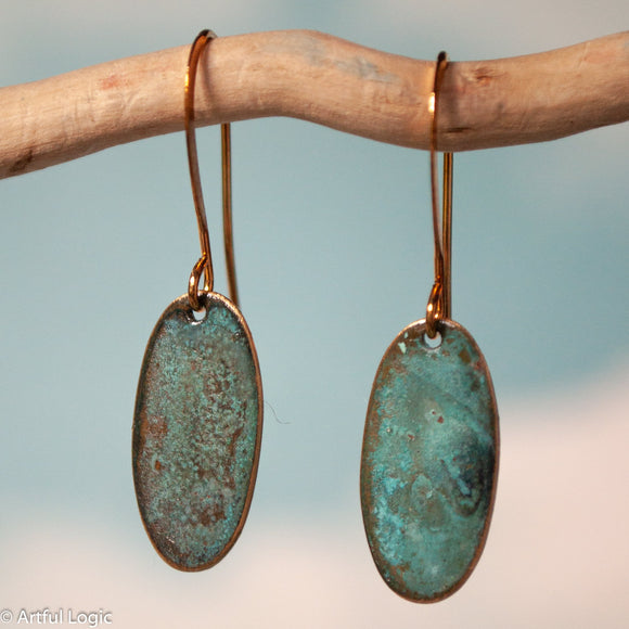 Turquoise patina oval earrings #2