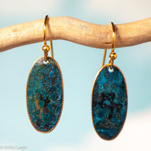 Turquoise patina oval earrings #3