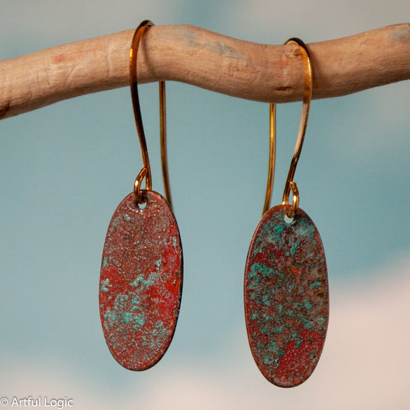 Turquoise patina oval earrings #4