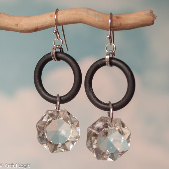 Large rubber o-ring with antique chandelier crystal drop earrings