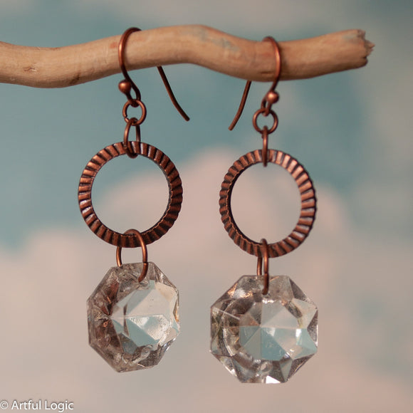 Textured copper ring with antique chandelier crystal drop earrings