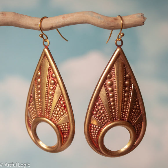 Funky brass teardrops aged with red alcohol ink earrings