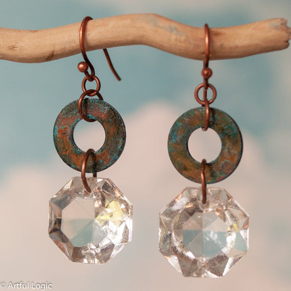 Turquoise patina washer with antique chandelier crystal drop earrings #1