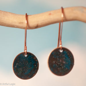 Small turquoise patina copper disk earrings