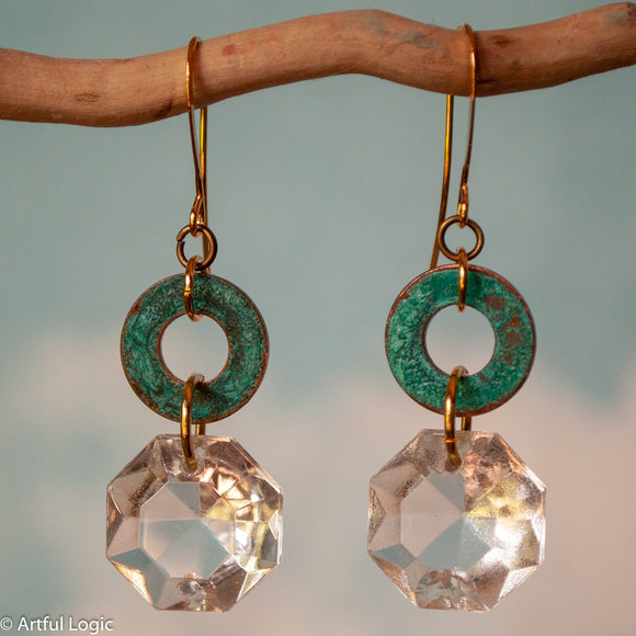 Turquoise patina washer with antique chandelier crystal drop earrings #2