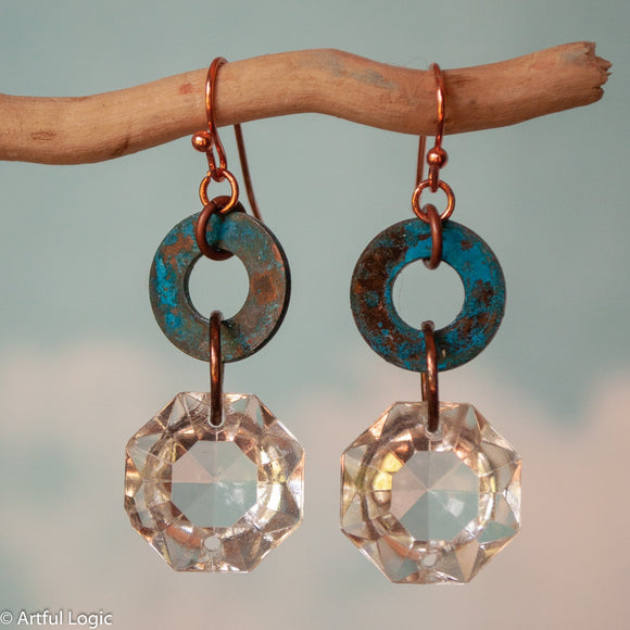 Turquoise patina washer with antique chandelier crystal drop earrings #3