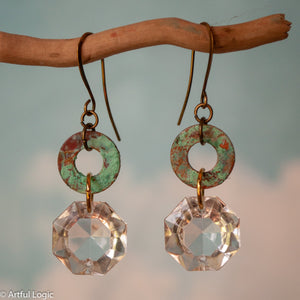 Turquoise patina washer with antique chandelier crystal drop earrings #4