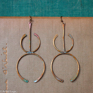 Funky brass wire turquoise patina earrings