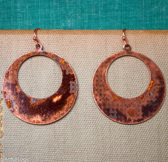Reversible copper circles with mottled turquoise patina earrings