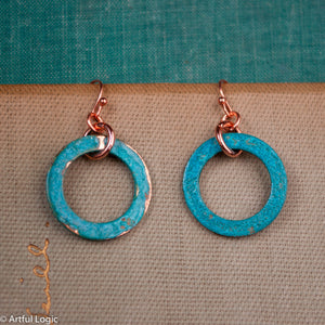 Turquoise green patina earrings