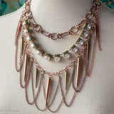 Adjustable multistrand copper, brass, pearl and spikes mixed metal necklace