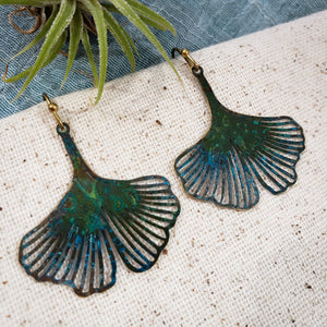 Ginkgo patina earrings