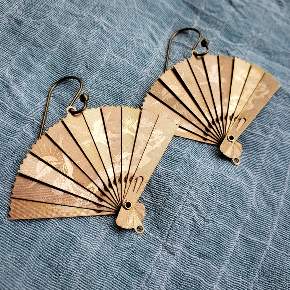 Antique Brass Folding Fan earrings
