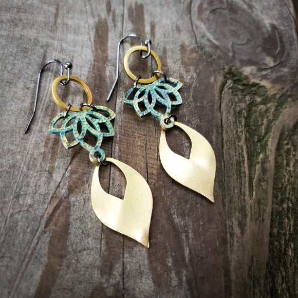 Inverted Lotus Earrings with Brass Petal Dangles