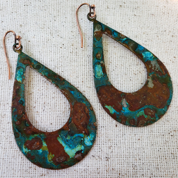 Water and Rust Copper Teardrops
