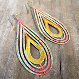 Fire and Water drop earrings